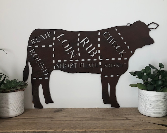 COW Sign , rusty Metal Shop Home sign , garden Ornament Farmyard,  Butchers cut sign, Animal cuts Beef BBQ sign , kitchen sign