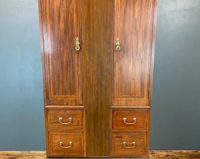 Antique Mahogany Wardrobe / Edwardian Cupboard / Rustic Wardrobe / Bedroom