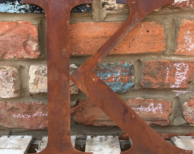 K Rusty metal letters, shop signage, initials, house sign garden name, lettering, rusted, industrial, vintage, numbers barbers, home, love