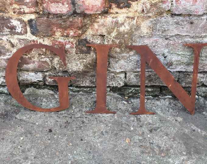 GIN SIGN , Rusty metal letters , gin bar accessories , metal lettering , rusted sign , industrial sign , garden bar sign , home bar sign ,