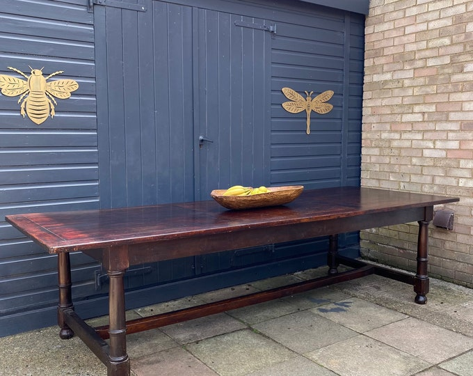 Vintage LARGE Refectory Dining Table / Rustic Table / Farmhouse Kitchen Table