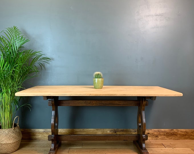 Vintage Solid Oak Refectory Dining KITCHEN  Table RUSTIC farmhouse Country