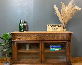 Vintage Oak Sideboard / Rustic Sideboard / Oak Cupboard /  Glazed Bookcase