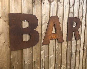 GARDEN BAR SIGN , Rusty metal letters , home bar sign , garden sign , rustic lettering, rusted metal lettering , bbq sign , drinks sign