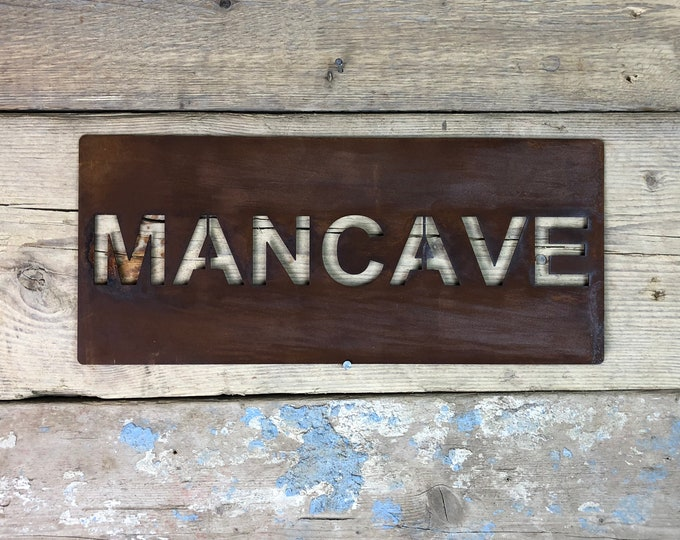 Rusted MANCAVE Plaque Word Sign Metal Shop Home Rustic Pub Cafe Bar Hut Shed Workshop Man Cave