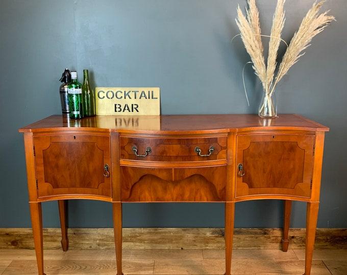 Vintage Wooden Sideboard Serpentine Cupboard Drawers Buffet Server