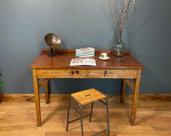 Vintage Desk & Stool  / Kitchen Table Island / Console Table / Work Bench N