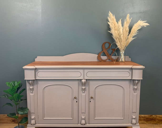 Vintage Mahogany Sideboard / Painted Sideboard / Rustic Cupboard / Grey Heather