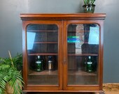 Rustic Vintage Bookcase Shelves Antique Storage Mahogany Glazed Doors Cupboard