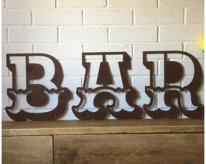 BAR Rusty metal word letters, shop home sign house name, lettering, rusted, industrial, vintage, numbers, pub, bbq