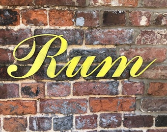 COLOURED RUM Word Lettering Letters Sign Metal Home Shabby Chic Vintage Rustic