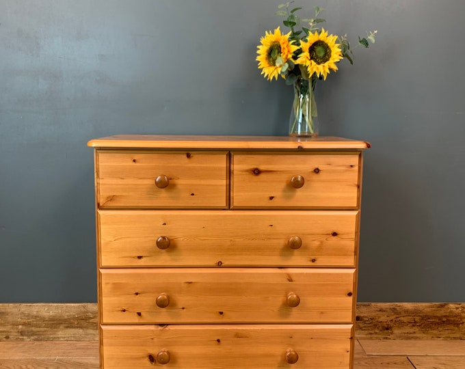 Pine Chest Of Drawers / Tall Drawers / Rustic Drawers / Bedroom Storage / E