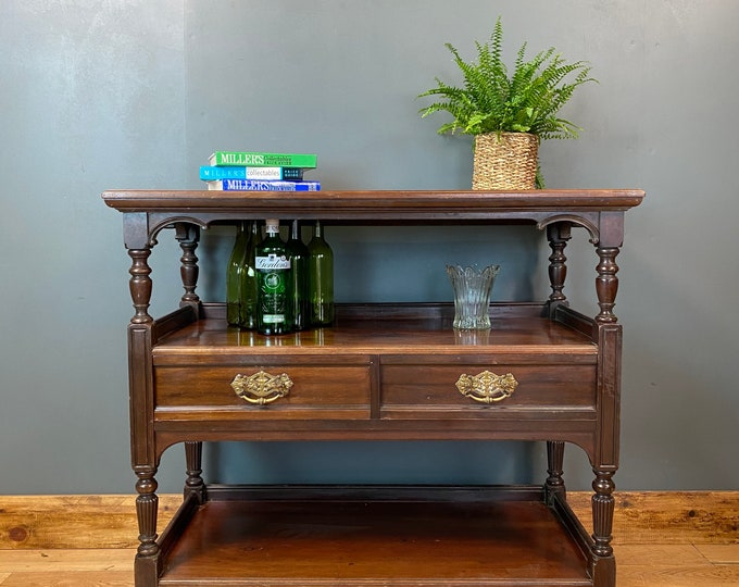 Antique Mahogany Sideboard /three Tier Mahogany Buffet Server /Mahogany Drawers