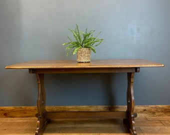 Vintage Refectory Table / Oak Kitchen Table / Rustic Farmhouse /Solid Oak