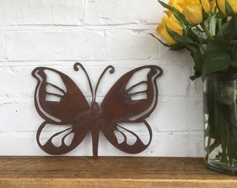 Rusty metal BUTTERFLY DECORATION ,  Home Sign , Garden Ornament , Wall feature , Animal decoration, rusted metal , butterfly sign ,