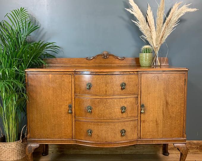 Vintage Rustic Antique Oak Sideboard Buffet Server Cupboard Drawers Aw Lyn