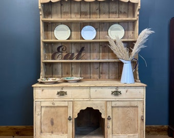 Antique Large Pine Dresser / Rustic Pine Kitchen Display/ Kitchen Pantry