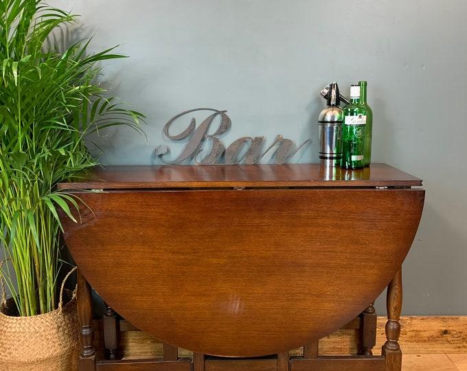 Vintage Oak Dining KITCHEN Table RUSTIC Gate Leg Drop Leaf Sideboard Extending