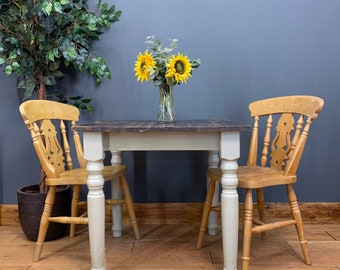 Small Vintage Table And Chairs / Pine Table And Chairs / Rustic Table / Bistro