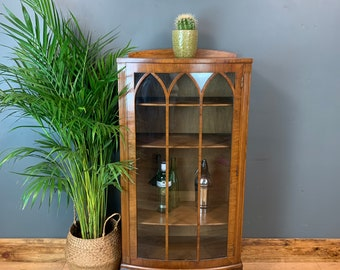 Vintage Glazed Cupboard Storage Bookcase Drinks China Cabinet Cocktail