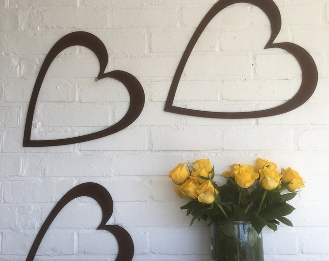 Set Of 3 metal Hearts , Rusted metal , Rustic decor , Vintage Wedding venue decoration ,