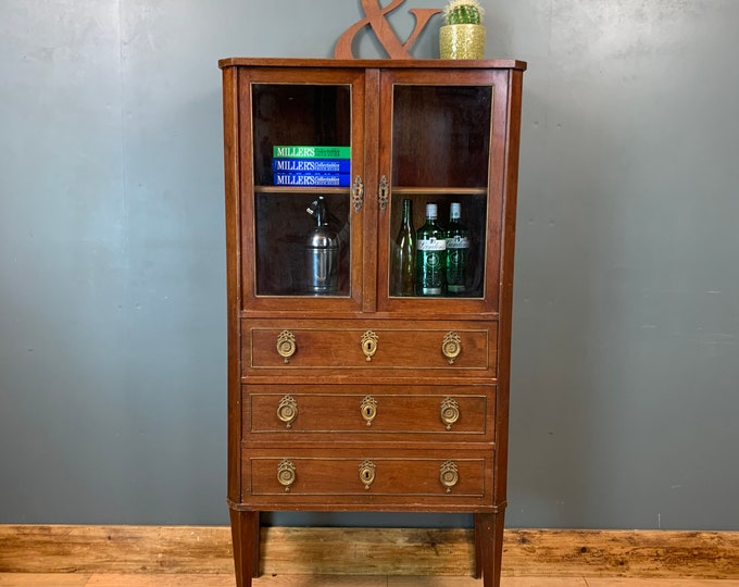Antique Mahogany Glazed Gin Cupboard Bookcase Drinks China Cabinet Cocktail
