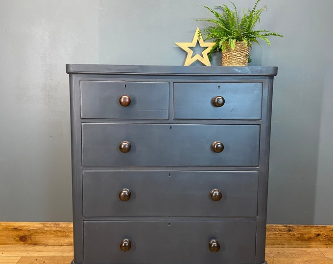 Antique Chest Of Drawers / Painted Drawers/ Rustic Chest Of Drawers / Dark Blue