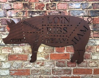 Large rusty PIG Sign Metal Shop Home Ornament Farmyard Butchers Animal cuts pork rustic