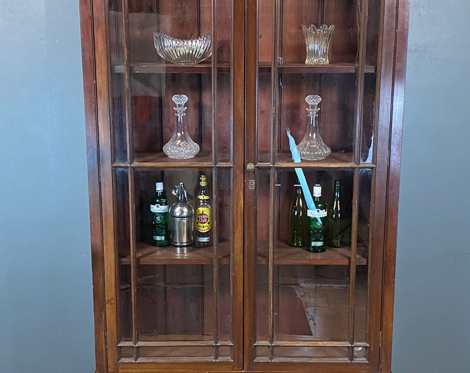 Vintage Mahogany Library Bookcase / Large Glazed Cabinet / Display Cabinet