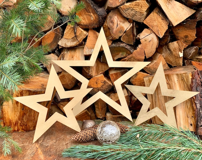 Rustic 3 X Gold STARS mantle CHRISTMAS SHAPE Sign Metal Nordic decoration
