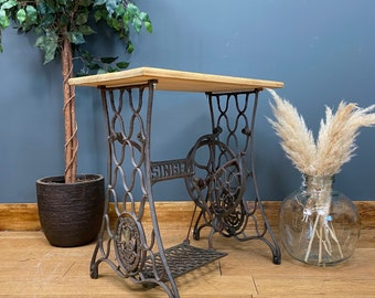Vintage Pine Console Table / Antique Singer Base Table /industrial Island Desk