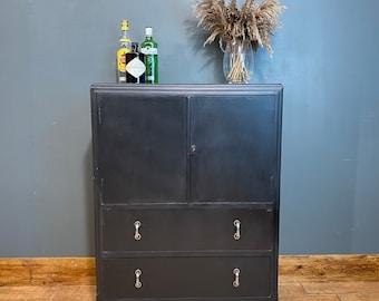 Vintage Cabinet / Vintage linen cupboard / black Tallboy/ drinks cabinet