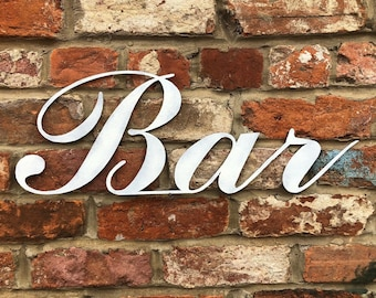 COLOURED BAR SIGN, Rustic metal Lettering , Shabby Chic decor , home bar accessories , cocktail bar