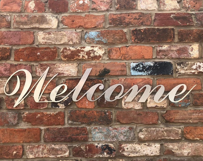 Steel WELCOME Sign / Shop Sign / Restaurant Signage /Industrial Decor