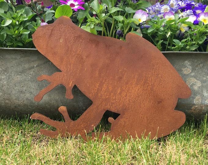 Rusty metal FROG Sign , Metal Garden Ornament , garden Decoration ,  metal garden Animal feature , flowerbed decoration ,