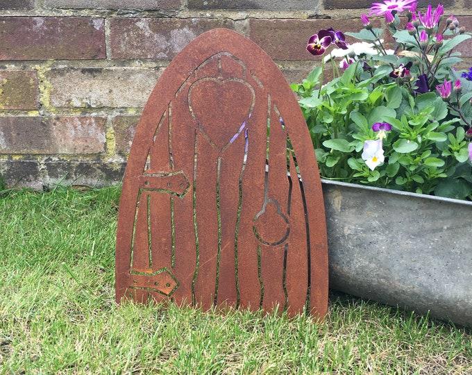 Rusty ELF DOOR Sign Metal Shop Home Garden lawn wall On The Shelf fairy ornament