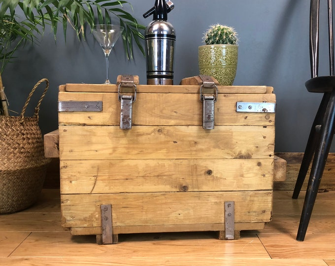 Vintage Reclaimed Pine Upcycled Wooden Trunk Chest Box Coffee Table Industrial Boho