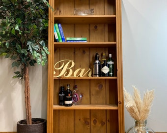 Vintage Tall pine Bookcase /Rustic Shelving Unit / Drinks Cabinet /Display unit