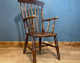 Antique Grandfather Chair / Windsor Chair / Elm & Beech/ Old Fireside Armchair B