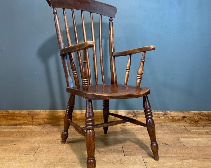 Antique Grandfather Chair / Windsor Chair / Elm & Beech/ Old Fireside Armchair B