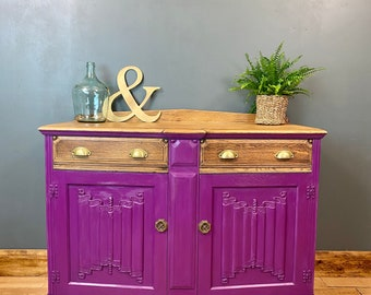 Vintage Oak Sideboard / Painted Sideboard / Shabby Chic Cabinet / Purple