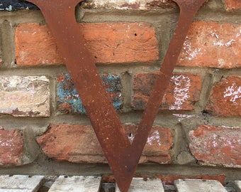 V Rusty metal letters, shop signage, initials, house garden sign name, lettering, rusted, industrial, vintage, numbers barbers, home
