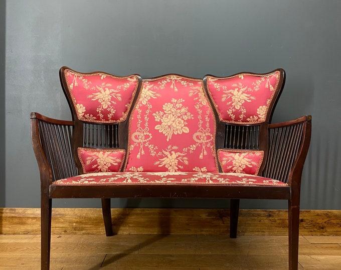 Antique Parlour Sofa / Edwardian salon Sofa/ Mahogany Bench Chair