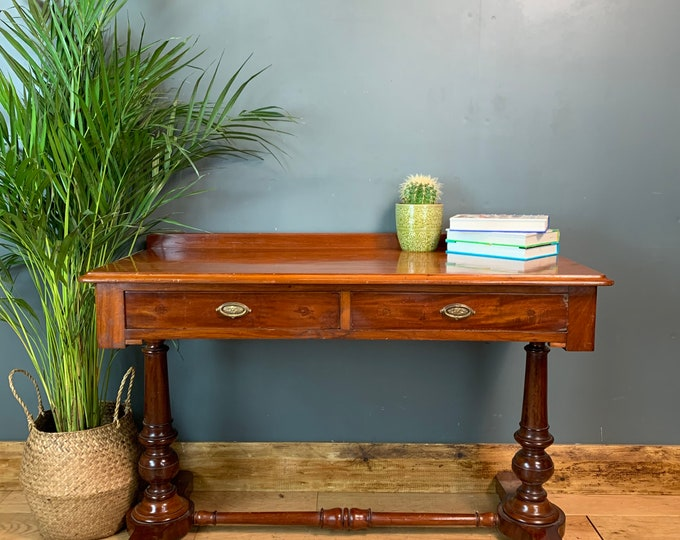 Antique Console Hallway Table Desk Sideboard Mahogany Drawers