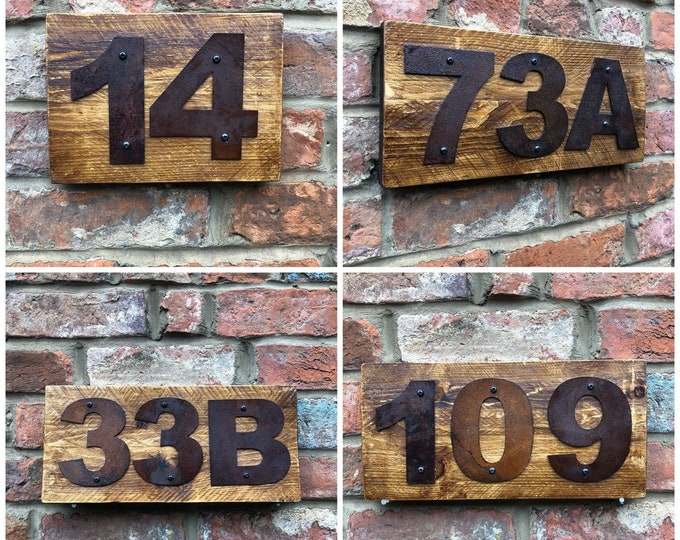 50 to 100 & Not Listed Rusted Metal and Wood House Door Wall Number Sign Vintage Rustic Classic Plaque
