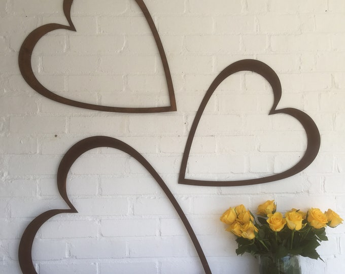 Rusty metal , large hearts set of 3, rusted metal shapes, rusty lettering  , rustic decor , home decoration , interior design , barn stars
