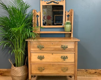 Antique Dressing Table Chest Of Drawers Mirror Bedroom Dresser Arts & Crafts