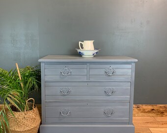 Vintage Upcycled Shabby Chic Chest Of Drawers Painted Light Blue Grey Boho