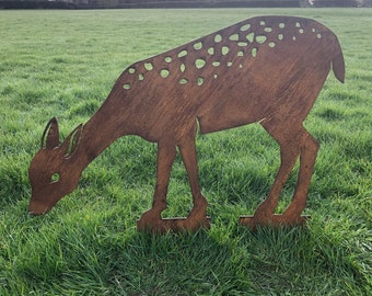 DEER Garden ornament , RUSTIC garden decoration , DEER animal Silhouette , Garden Feature , rustic garden decor ,  deer statue