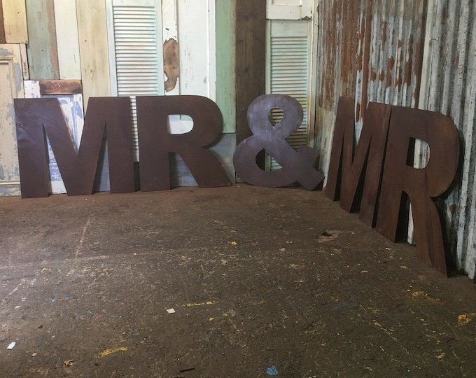 XL MR & MR Rusty Rustic Letters Sign Metal Home Vintage and Rustic Wedding